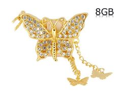 Butterfly 8GB USB Flash Drive with Chain (Gold)$18.99
