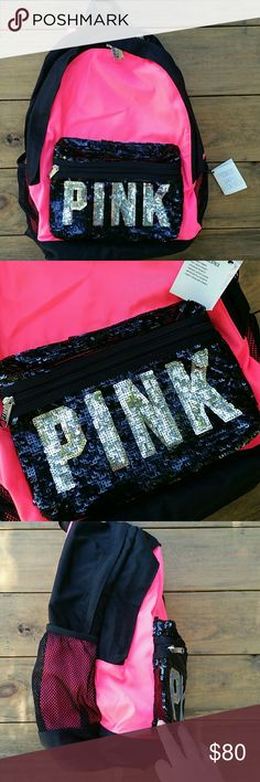 """VS PINK Pink & Black Bling Campus Backpack NWT This bling backpack is bright pink and black in color, with black sequins on the front pocket with """"PINK"""" in silver sequins. (The back is black, with pink and black adjustable shoulder straps). It the """"Campus Backpack"""" style, and the tag reads """"durable fabric, top stash pocket, interior pockets, padded laptop sleeve, water bottle pockets, comfy shoulder straps."""" It is new with tags.  Sorry, but NO TRADES and if you ask """"lowest"""" or suggest a…"""