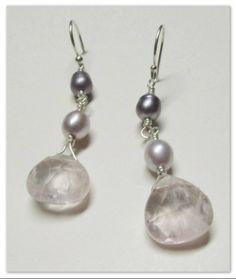 Rose Quartz and Pearl Earrings Rose Quartz, Jewelry Making, Pearl Earrings, Pearls, Handmade, Pearl Studs, Hand Made, Pink Quartz, Beads