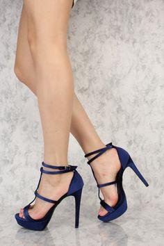 Navy Velvet Double T-Strap Open Toe Platform Pump High Heels Navy High Heels, Hot High Heels, Platform High Heels, Sexy Heels, High Heel Boots, High Heel Pumps, Womens High Heels, Pumps Heels, Stiletto Heels