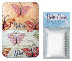 Retro Clean  If you have a treasured vintage quilt, or piece of fabric with yellow or brown stains, you may think it is ruined forever. With Retro-Clean, you may be able to save that special piece