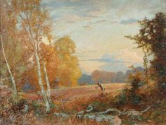 """BBC - Your Paintings - """"Work on the Land, Farnham"""" by William Herbert Allen  - Such glorious autumn colors!"""