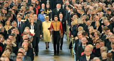Pomp and pageantry: The parliamentary maces were carried in procession into Westminster Hall, followed by the Yeomen of the Guard in ceremonial uniform