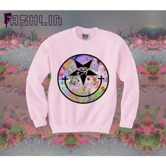 Pastel Inverted Kawaii Smiley Face All Seeing Eye Sweatshirt. ($45) ❤ liked on Polyvore