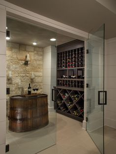 HGTV.com shares the amazing transformation of an unfinished basement into a stunnning kitchen, family room, game room and wine cellar.