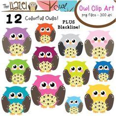 Owl Clip Art! 12 Cute & Colorful Owls + Blackline!  $
