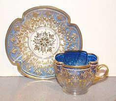 Moser Quatrefoil Cup & Saucer Shaded Blue w/ Gold Decoration