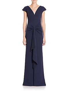 Carmen Marc Valvo Crepe Ruffle-Front Gown - Midnight