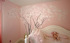 Cherry Blossom Tree in Emma's Room - Hand Painted Wall Murals - San Francisco, San Jose, Palo Alto - Murals by Morgan