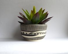A L D E R L E A F tribal ceramic planter by mbundy on Etsy