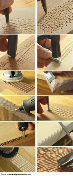 12 Ways To Add Texture With Tools You Already Have. #WoodCraftsTools #WoodworkCrafts #WoodworkCraft - Salvabrani