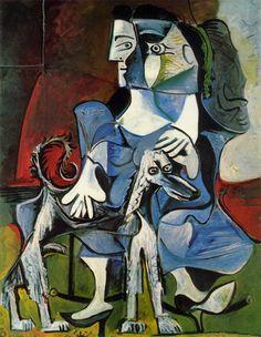 """""""Femme au chien (Jacqueline avec Kaboul)"""". 1962. Picasso"""