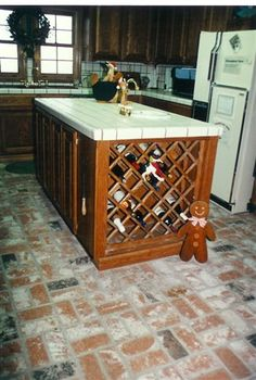 brown tiled kitchen floors |  brown-marble-tile-kitchen