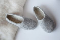 d1f6acafe3d7 Felted organic wool slippers for woman-wool slippers-felt wool house  shoes-eco friendly-grey and white- gift for her