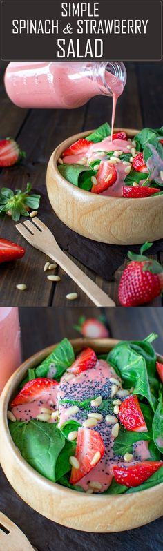 Colorful and healthy, this Simple Spinach and Strawberry Salad recipe makes a great lunch and can be easily customized for dinner by adding grilled chicken and feta. The strawberry dressing is the best in the world! (best food for dinner) Healthy Snacks, Healthy Eating, Healthy Recipes, Quick Recipes, Good Food, Yummy Food, Tasty, Summer Salads, Salad Recipes