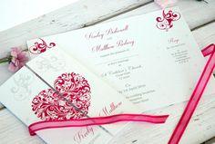 10 Personalised Wedding Invitations Handmade & Gatefold With Ribbon & Envelopes (Any Colour): Amazon.co.uk: Kitchen & Home