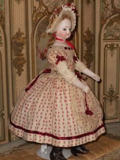 Rare early French Teenager Poupee with Wooden Body