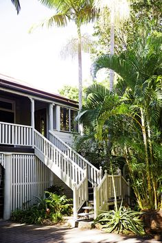 Take a tour of this stunning revamped Queenslander in Coolum, decorated in a quirky, vintage style. Colonial, Tin House, Queenslander, Stair Railing, Stairs, Beach Shack, Forest House, Outdoor Living, Outdoor Decor