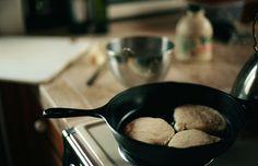 pancakes. cast iron pan..