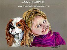 Portrait aux pastels secs d'après photo d'une petite fille avec son chien 2015