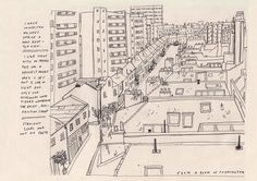 Paddington rooftops sketch by Lizzy Stewart