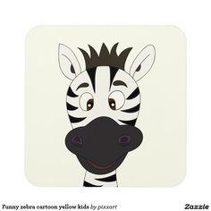 Funny zebra cartoon yellow kids drink coaster