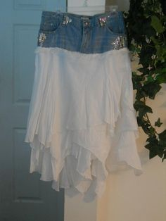 Fée Blanche jean skirt white faerie Renaissance Denim Couture embellished French bohemian fluttery ruffled frou frou pixie nymph. $74.00, via Etsy.