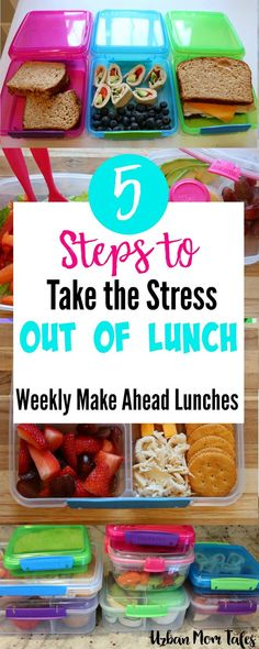 5 Steps to Take the Stress out of Lunch! (Weekly Make Ahead Lunches) 5 Steps to Take the Stress out of Lunch! (Weekly Make Ahead Lunches) Lunch Snacks, Lunch Recipes, Baby Food Recipes, Healthy Recipes, Kid Recipes, Delicious Recipes, Lunch Box, Yummy Food, Make Ahead Lunches