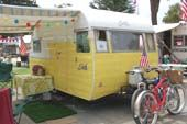 Very clean classic 1957 Shasta travel trailer in yellow and white Trailer Awning, Shasta Trailer, Shasta Camper, Vintage Travel Trailers, Vintage Campers, Kids Cot, Travel Camper, Art Deco Lamps, Camping Glamping
