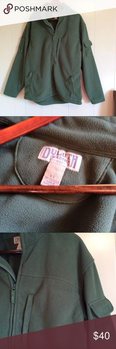 Large Duluth trading co shoreman's fleece jacket Euc size Large and tall. Olive green water resistant, wind proof, but still breathable and not bulky. Full zipper and lots of pockets. duluth trading co Jackets & Coats