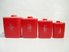 Vintage Red Lustro Ware Canisters Set of 4 Flour Sugar Coffee Tea Plastic Retro  Kitchenware