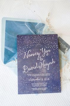 Starry night inspired wedding invitations || Bella Collina Weddings