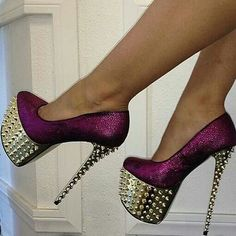 Spiked Purple #Shoes #heels --- Really high shoes!