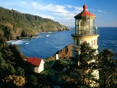 Haceta Head Lighthouse lies an hour's drive from Eugene. Oregon's early policy of entirely open-access public beaches is a source of populist pride within the state.