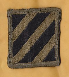 U.S. ARMY 3rd INFANTRY DIVISION Patch, Subdued Black on OD, Vietnam-  Cold War
