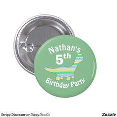 Stripy Dinosaur Kids Birthday Age Pinback Button