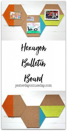 Hexagon Bulletin Board   Yesterday On Tuesday Diy Room Decor For Teens, Diy Home Decor Bedroom, Diy Projects For Teens, Diy For Teens, Diy Crafts For Kids, Bedroom Ideas, Diy Organizer, Cool Diy, Teen Bulletin Boards