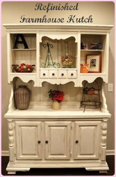 Refinished Farmhouse Hutch using Chalk Paint