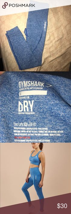 Gym shark seamless dry leggings- high waisted Blue, it's a little see through. Worn once. gym shark Pants Track Pants & Joggers