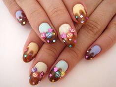 Adorable drippy chocolate & M nails <3 ...... Easter