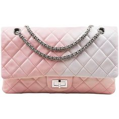 "Chanel Pink White Leather Ombre Degradé ""2.55 Reissue 227"" Jumbo... (€3.263) ❤ liked on Polyvore featuring bags, handbags, genuine leather purse, pink handbags, white hand bags, white leather purse and leather man bags"