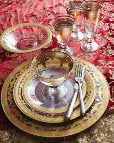 "Arte Italica ""Vetro Gold"" Dinnerware & Glassware  | Neiman Marcus   ᘡղbᘠ"