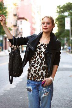 leather jacket/animal print/torn boyfriend jeans