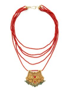 Ca. Late 1800's Antique Red Coral & Gold Multi-Strand Bib Necklace by Tara Compton on Gilt.com
