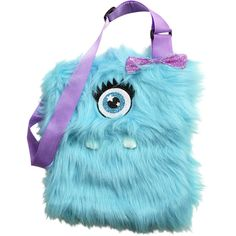 Turquoise Monster Fur Crossbody monster fur collection ($28) ❤ liked on Polyvore featuring bags