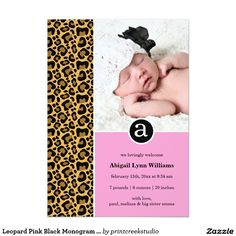 Leopard Pink Black Monogram Girl Photo Birth 5x7 Paper Invitation Card