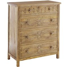 Hand-carved and beautifully detailed, our mango wood Sakandi Chest is a spectacular specimen of global artisanship. A broad plank top and natural finish showcase the rich, variegated grain, while elaborate carvings on drawers vie for attention. Bask in the limelight.