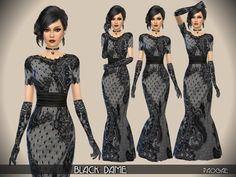 In this black lace gown rich in charm and mystery, the taste of ancient times ... or of a Halloween party! Found in TSR Category 'Sims 4 Female Formal'