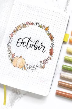 Best Bullet Journal Monthly Cover Ideas For October - Crazy Laura - - If you're looking for some new October monthly cover ideas to try in your bullet journal, then you need to check out these super fun and spooky spreads! Autumn Bullet Journal, Bullet Journal Headers, February Bullet Journal, Bullet Journal Cover Ideas, Bullet Journal Monthly Spread, Bullet Journal 2020, Bullet Journal Aesthetic, Journal Ideas, Creative Memories