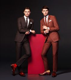 Models Harvey Haydon and Matthew Holt suit up for a sartorial outing from Clements & Church.
